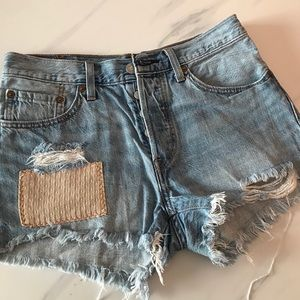 REWORKED LEVIS WEDGIE HIGH RISE SHORTS W:27